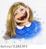 Девушка улыбается. Стоковая иллюстрация, иллюстратор Евгения Молокеева / Фотобанк Лори