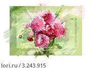 Бордовые хризантемы. Стоковая иллюстрация, иллюстратор Евгения Молокеева / Фотобанк Лори