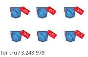 Карманы джинсов со скидками. Стоковая иллюстрация, иллюстратор Воробьева Надежда / Фотобанк Лори