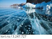 Байкальские ледовые рисунки. Стоковое фото, фотограф Виктория Катьянова / Фотобанк Лори