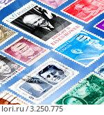 Почтовые марки на голубом фоне (2010 год). Стоковое фото, фотограф Владимир Николаевич Гневушев / Фотобанк Лори