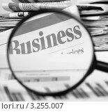 Купить «Заголовок газетной статьи о бизнесе через лупу», фото № 3255007, снято 22 января 2012 г. (c) Воронин Владимир Сергеевич / Фотобанк Лори