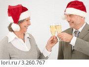 Купить «Счастливые пожилые коллеги в шапочках Санта-Клауса чокаются бокалами с шампанским», фото № 3260767, снято 1 ноября 2011 г. (c) CandyBox Images / Фотобанк Лори