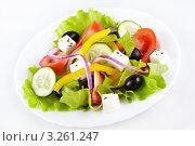 Купить «Греческий салат на белой тарелке», фото № 3261247, снято 31 декабря 2011 г. (c) Галина Михалишина / Фотобанк Лори