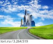 Купить «Современный город, окруженный природным пейзажем», иллюстрация № 3264519 (c) Sergey Nivens / Фотобанк Лори