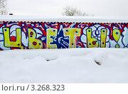 """Купить «Яркая надпись """"Цветы!"""" на заснеженной палатке», фото № 3268323, снято 19 февраля 2012 г. (c) Илюхина Наталья / Фотобанк Лори"""