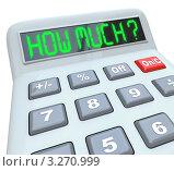 """Купить «Надпись """"Сколько?"""" на экране калькулятора», иллюстрация № 3270999 (c) Chris Lamphear / Фотобанк Лори"""