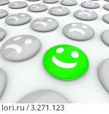 Купить «Веселый зеленый 3D-смайлик среди серых грустных смайликов», иллюстрация № 3271123 (c) Chris Lamphear / Фотобанк Лори