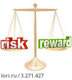 """Купить «Слова """"Риск"""" и """"Награда"""" на чашах весов», иллюстрация № 3271427 (c) Chris Lamphear / Фотобанк Лори"""