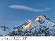 Вершины французских Альп в закатном свете. Стоковое фото, фотограф Sergey Borisov / Фотобанк Лори