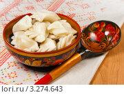 Купить «Русские пельмени в хохломской посуде», фото № 3274643, снято 23 июня 2011 г. (c) ElenArt / Фотобанк Лори