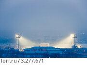 """Купить «Стадион """"Химик"""" вечером, вид от поклонного креста. Кемерово», фото № 3277671, снято 20 февраля 2012 г. (c) Михаил Павлов / Фотобанк Лори"""