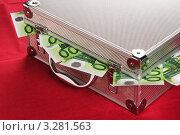 Купить «Евро торчат из под крышки чемодана», фото № 3281563, снято 13 апреля 2009 г. (c) Игорь Соколов / Фотобанк Лори