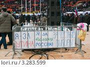 Москва. Митинг в поддержку В.В. Путина. 23 февраля 2012. Лозунги после митинга. Редакционное фото, фотограф Ирина Фирсова / Фотобанк Лори