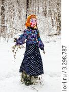Скульптура, символизирующие масленицу на фоне зимнего леса. Стоковое фото, фотограф Игорь Низов / Фотобанк Лори