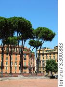 Купить «Дома в Риме, высокие зеленые деревья, голубое небо», фото № 3300883, снято 3 августа 2010 г. (c) Losevsky Pavel / Фотобанк Лори