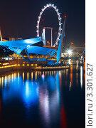 Купить «Колесо обозрения, набережная в Сингапуре», фото № 3301627, снято 4 апреля 2020 г. (c) Руслан Керимов / Фотобанк Лори