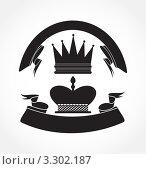 Королевские короны и черные ленты. Иллюстрация. Стоковая иллюстрация, иллюстратор Вероника Румко / Фотобанк Лори