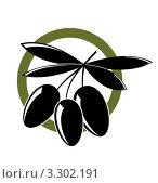 Иконка с черными оливками. Стоковая иллюстрация, иллюстратор Вероника Румко / Фотобанк Лори