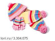Купить «Полосатые шапка, шарф и перчатки», фото № 3304075, снято 23 февраля 2019 г. (c) Типляшина Евгения / Фотобанк Лори