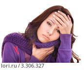 Купить «Заболевшая молодая девушка держит одной рукой лоб, другой горло, обвязанное шарфом, белый фон», фото № 3306327, снято 14 декабря 2010 г. (c) Gennadiy Poznyakov / Фотобанк Лори