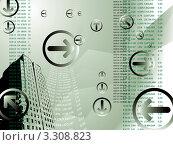 Абстрактный деловой фон зеленого цвета со стрелками и финансовыми результатами. Стоковая иллюстрация, иллюстратор Michael Travers / Фотобанк Лори