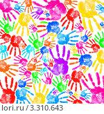 Купить «Цветные отпечатки ладоней», фото № 3310643, снято 23 марта 2019 г. (c) Elnur / Фотобанк Лори