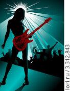 Купить «Рок-гитаристка выступает на сцене», иллюстрация № 3312843 (c) Vasiliev Sergey / Фотобанк Лори