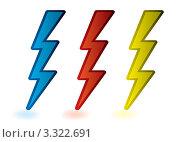 Молнии красного, желтого и синего цвета на белом фоне. Стоковая иллюстрация, иллюстратор Michael Travers / Фотобанк Лори