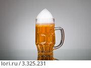 Купить «Стеклянная кружка с пивом на сером фоне», фото № 3325231, снято 6 декабря 2011 г. (c) Elnur / Фотобанк Лори