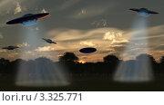 Несколько НЛО в небе над тёмным лесом. Стоковая иллюстрация, иллюстратор Сергей Галушко / Фотобанк Лори