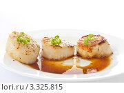 Купить «Морские гребешки с соевым соусом», фото № 3325815, снято 21 февраля 2012 г. (c) Peredniankina / Фотобанк Лори