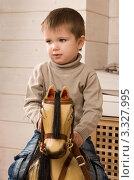 Маленький мальчик катается на игрушечной лошадке. Стоковое фото, фотограф Сергей Высоцкий / Фотобанк Лори
