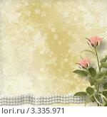 Фон с нежными розами и жемчужной ниткой. Стоковая иллюстрация, иллюстратор Lora Liu / Фотобанк Лори