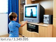 Купить «Мальчик переключает телевизионные каналы», фото № 3349095, снято 25 июня 2019 г. (c) Erwin Wodicka / Фотобанк Лори