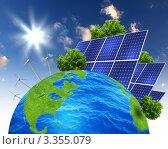 Купить «Концепция экологически чистой энергетики. Ветряки и солнечные батареи  на глобусе.», фото № 3355079, снято 14 августа 2018 г. (c) Sergey Nivens / Фотобанк Лори