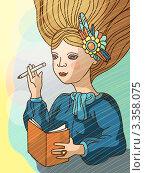 Девушка с записной книжкой и карандашом. Стоковая иллюстрация, иллюстратор Войнова Елена / Фотобанк Лори