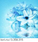 Купить «Цветок Гиацинт с каплями воды, фон для открытки», фото № 3358315, снято 6 марта 2012 г. (c) ElenArt / Фотобанк Лори