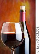 Купить «Бутылка и бокал красного вина», фото № 3363339, снято 29 января 2012 г. (c) Олег Жуков / Фотобанк Лори