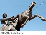 Купить «Укротитель коня Петра Клодта. Санкт-Петербург», эксклюзивное фото № 3378019, снято 4 июня 2010 г. (c) Александр Алексеев / Фотобанк Лори