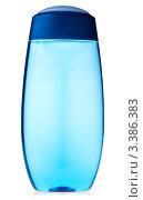 Купить «Голубой прозрачный флакон с шампунем на белом фоне», фото № 3386383, снято 18 марта 2009 г. (c) Дмитрий Наумов / Фотобанк Лори