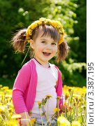 Купить «Девочка с одуванчиками», фото № 3387195, снято 13 мая 2011 г. (c) Юлия Гусакова / Фотобанк Лори