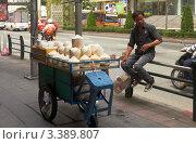 Купить «Уличный торговец кокосами, Бангкок, Таиланд», фото № 3389807, снято 2 октября 2011 г. (c) Виктор Савушкин / Фотобанк Лори