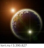 Планета Земля в лучах двух ярких вспышек. Стоковая иллюстрация, иллюстратор Игорь Чайковский / Фотобанк Лори