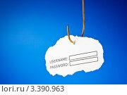 Купить «Облако из бумаги с полями для имени пользователя и пароля. На крючке», фото № 3390963, снято 26 июня 2011 г. (c) Ивелин Радков / Фотобанк Лори