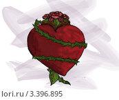 Сердце обвитое розой с шипами. Стоковая иллюстрация, иллюстратор Евгений Кочетков / Фотобанк Лори