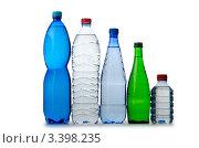 Купить «Пять разных бутылок воды», фото № 3398235, снято 7 декабря 2011 г. (c) Elnur / Фотобанк Лори