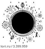 Купить «Рамка со стилизованными цветами и стрекозами», иллюстрация № 3399959 (c) Татьяна Петрова / Фотобанк Лори