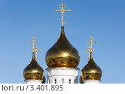 Купить «Купола собора Святой Живоначальной Троицы (Петропавловск-Камчатский)», фото № 3401895, снято 3 апреля 2012 г. (c) А. А. Пирагис / Фотобанк Лори