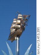 """Купить «Бриг """"Меркурий"""" - фрагмент памятного знака, посвященный героизму и доблести моряков-черноморцев», фото № 3413391, снято 4 апреля 2012 г. (c) Андрей Ерофеев / Фотобанк Лори"""